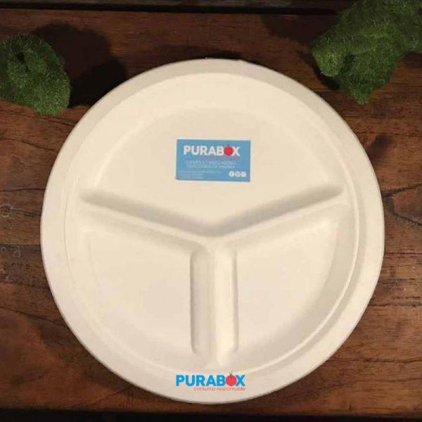 Plato pulpa de papel redondo con 3 divisiones biodegradable Purabox