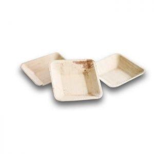 Plato de bamboo cuadrado mini 9cm Biodegradable purabox