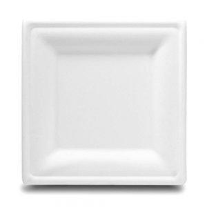 Plato cuadrado pulpa de papel grande 26cm biodegradable purabox