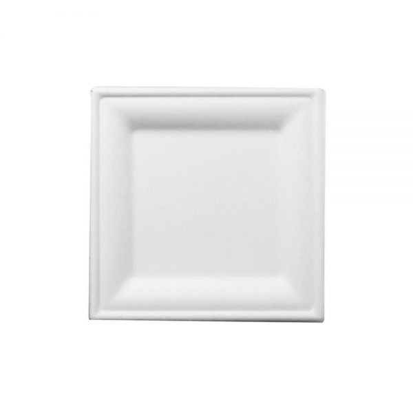 Plato cuadrado pulpa de papel pequeño 16 cm biodegradable purabox