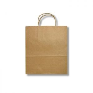 Bolsa papel kraft con manija trenzada 25 cm x 12cm x 27cm Biodegradable purabox