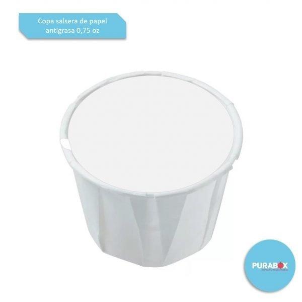Copa salsera 0.75 oz papel antigrasa Biodegradable purabox
