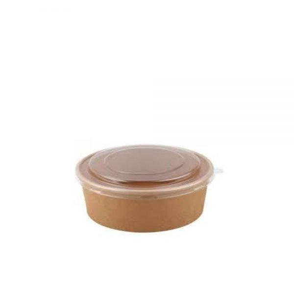 Bowl Kraft 1.300 ml Marrón con tapa Biodegradable purabox