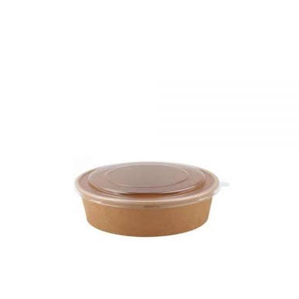 Bowl Kraft 500 ml Marrón con tapa Biodegradable purabox