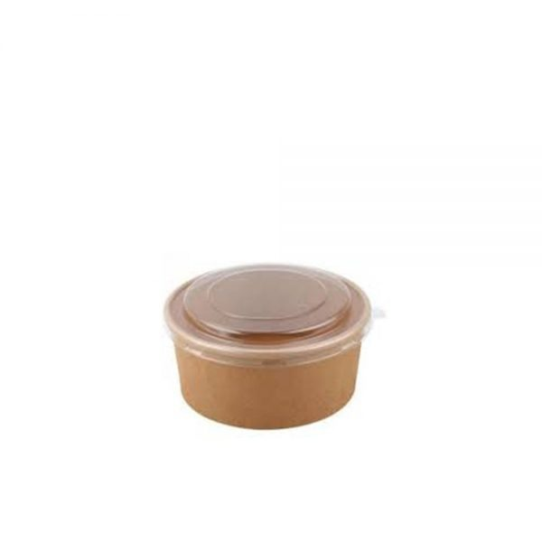 Bowl Kraft 750 ml Marrón con tapa Biodegradable purabox