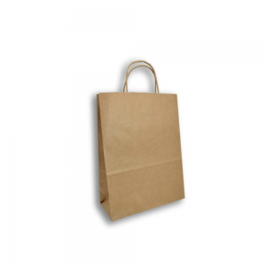Bolsa Trenzada Kraft 27cm x17cm x28cm Biodegradable purabox