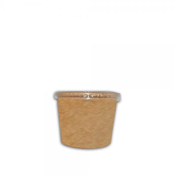 Ecotazon Kraft 6 oz con tapa Biodegradable purabox