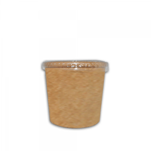 Ecotazon kraft 12 oz con tapa Biodegradable purabox