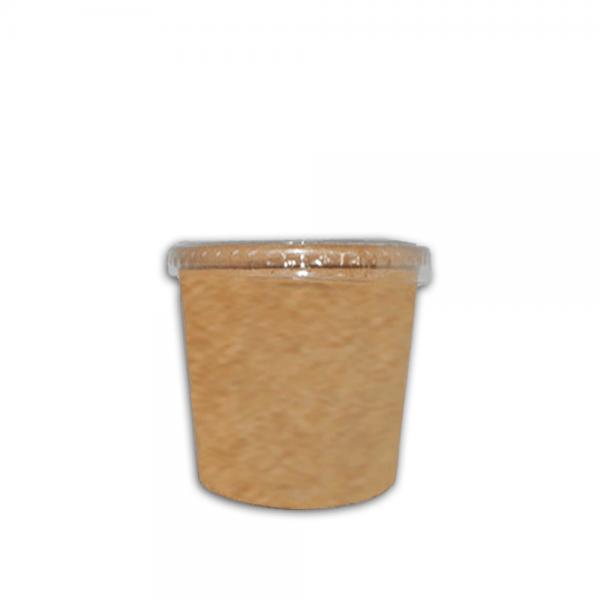 Ecotazon kraft 12 oz con tapa Biodegradable purabox