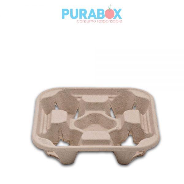 Portavasos pulpa de papel x 4 - Purabox